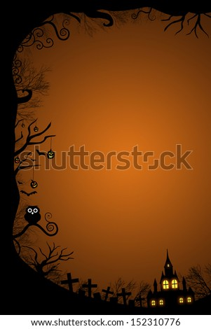 Halloween border for design with scary house glowing in the night at graveyard - stock photo