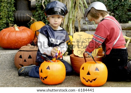 Halloween candy grabbers - stock photo