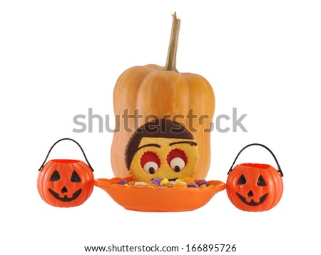Halloween Candy Pumpkins Homemade Decorated Butter Cookie Face of Child isolated on white background - stock photo
