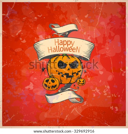Halloween card with a pumpkins, retro style, rasterized version. - stock photo