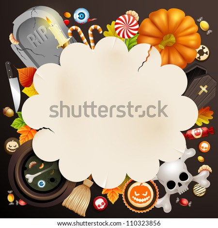 Halloween card with different objects and place for text. Check my portfolio for vector version. - stock photo