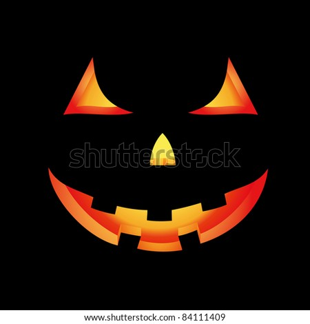 Halloween card with glowing scary pumpkin - stock photo