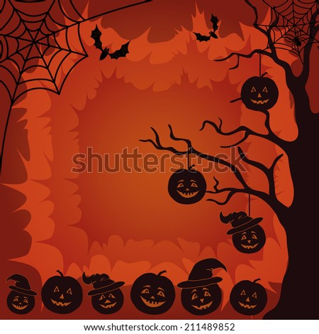 Halloween cartoon landscape with pumpkins Jack-o-lantern, trees, spider, web and bats silhouettes. - stock photo