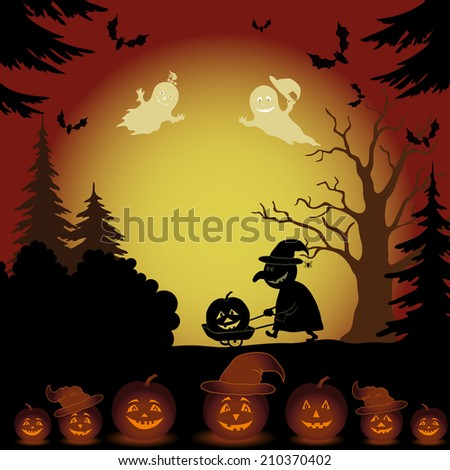 Halloween cartoon landscape with silhouettes of trees, ghosts, witch with a cart, pumpkins and bats. - stock photo