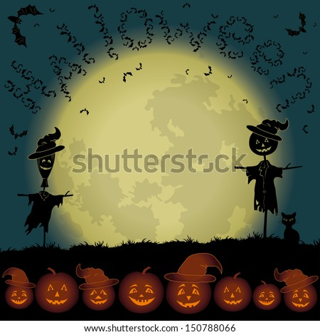 Halloween cartoon landscape with the moon, pumpkins Jack-o-lantern, scarecrows, cat and bats. Elements of this image furnished by NASA (www.visibleearth.nasa.gov).