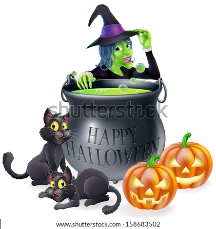 Halloween cartoon witch scene with a witch, her black cats, Happy Halloween cauldron and pumpkins. - stock photo