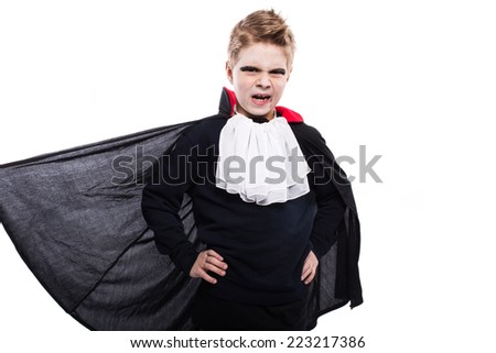 Halloween character: vampire, dracula. Studio portrait isolated over white background - stock photo