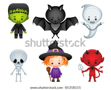 Halloween characters icon set - raster version - stock photo