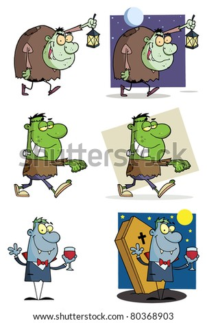 Halloween Characters-Raster Collection.Vector version is also available - stock photo