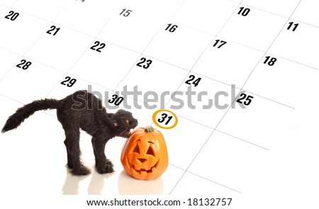 halloween circled on calendar with mean black cat and pumpkin - stock photo