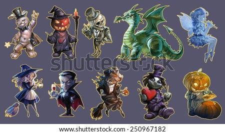 Halloween collection of hand drawn illustrations with Jack O Lantern, witches, vampire and other monsters - stock photo
