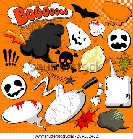 Halloween Comic speech bubbles for your design - stock photo