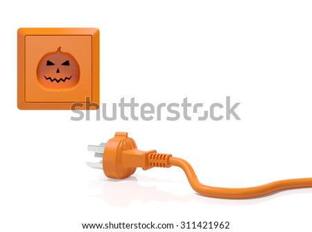 Halloween concept. Electric connector (plug adapter) and power socket (outlet) in the form of pumpkin with unusual design as symbol of holiday in every home or the beginning of celebration or party - stock photo