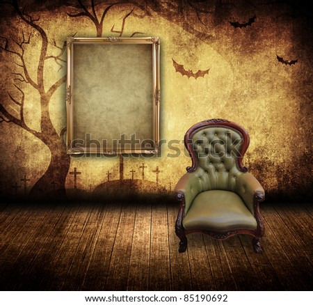 halloween concept room with retro chair and blank portrait frame - stock photo
