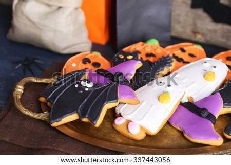 Halloween cookies in decorated room - stock photo
