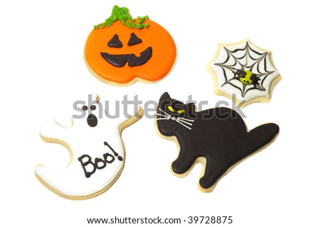 Halloween cookies on a white back ground - stock photo