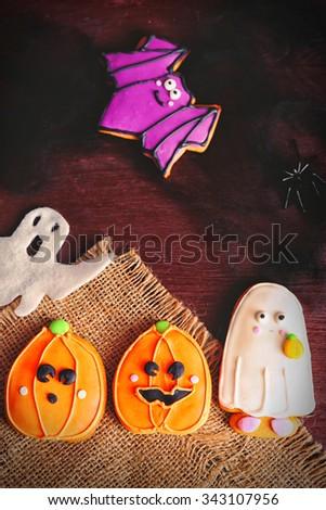 Halloween cookies on cotton serviette - stock photo
