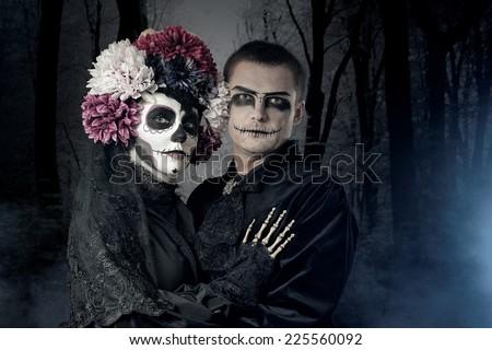 Halloween couple - stock photo
