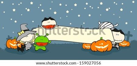 Halloween creatures on a cemetery, holding a banner (raster version) - stock photo