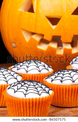 halloween cupcakes with web vertical picture. - stock photo