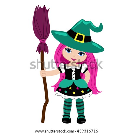 Halloween Cute Witch with pink broom.Raster copy. - stock photo