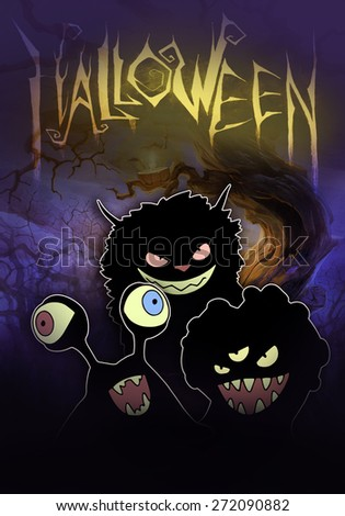 Halloween dark illustration with different monsters in black silhouette