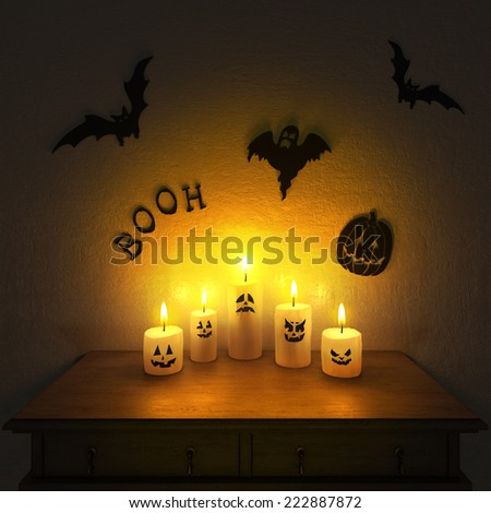 Halloween decoration. Handmade funny candle ghosts. High resolution. 3D render - stock photo