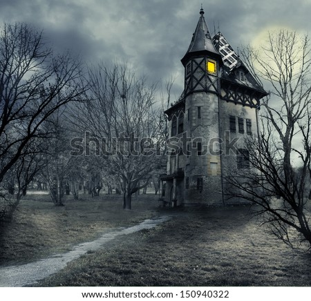 Halloween design with haunted house - stock photo