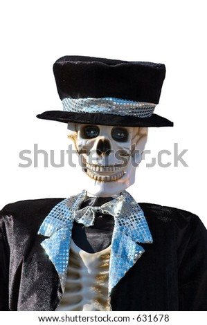 Halloween Dressed skeleton isolated on a white background - stock photo