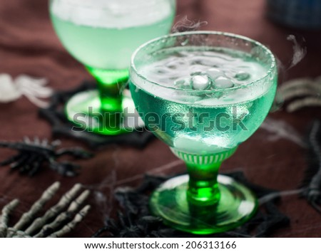 Halloween drink for party, selective focus - stock photo
