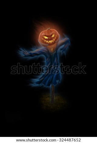 Halloween eve symbol Jack-o-lantern come alive in the darkness - stock photo