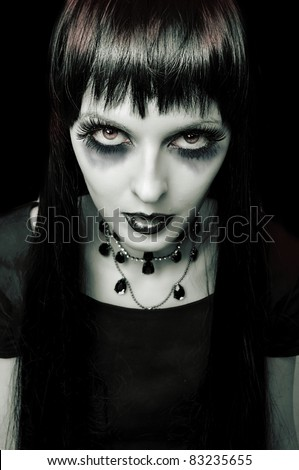 Halloween. Fashion portrait of night vampire gothic style woman. Zombie or witch - stock photo
