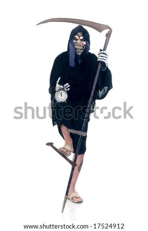 Halloween, fun and creepy, grim reaper on white background - stock photo
