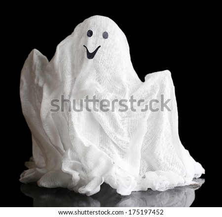 Halloween ghost, isolated on  black - stock photo