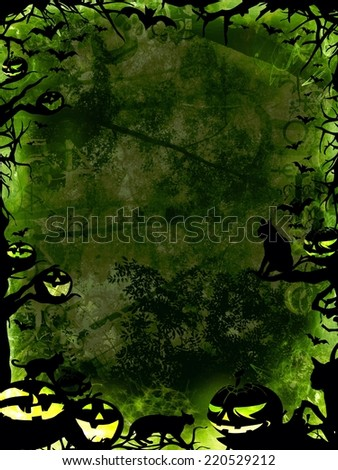 halloween green vertical background with pumpkins, cats, bats and trees - stock photo