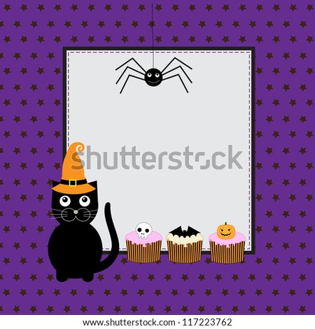 Halloween greeting card with cute black cat. Raster version