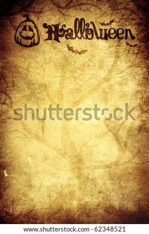 halloween grunge background with pumpkin title - stock photo
