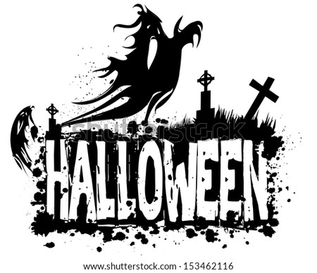 Halloween grungy silhouette background with ghosts in graveyard black