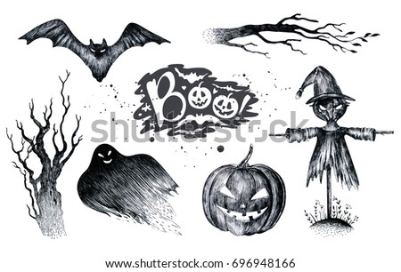 halloween hand drawing black white graphic set icon drawn halloween symbols pumpkin broom - Halloween Black And White