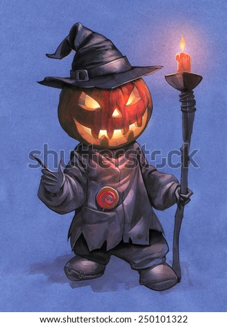 Halloween hand drawn illustration with Jack O Lantern holding a lit candle on the blue background  - stock photo