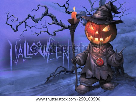 Halloween hand drawn illustration with Jack O Lantern on the textured background