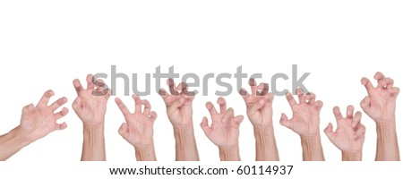Halloween hand gesture set, isolated on white