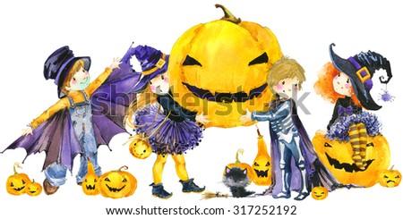 Halloween holiday banner,  little girl witch, skeleton boy, black cat, vampire boy,  and Halloween pumpkin. Watercolor illustration background  Halloween. - stock photo
