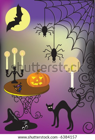 halloween illustration with cat moon spider pumpkin