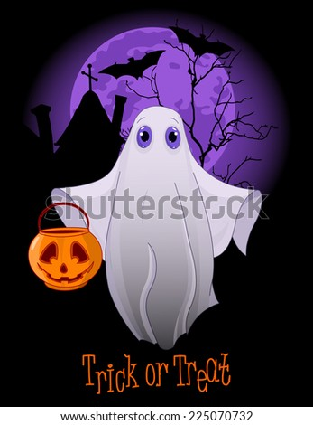 Halloween invitation  of  Trick or Treating Ghost. Raster version - stock photo