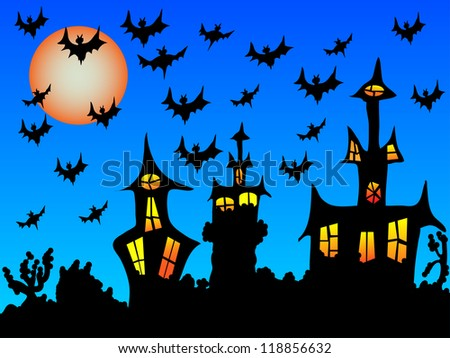 Halloween is here, in a dark house with a sky full of bats/Halloween night - stock photo