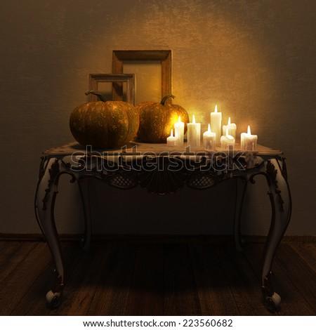 Halloween Jack-O-Lantern Pumpkin on a chair. High resolution. 3D render - stock photo