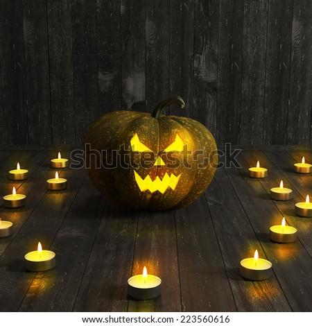 Halloween Jack-O-Lantern Pumpkin on a floor. High resolution. 3D render - stock photo
