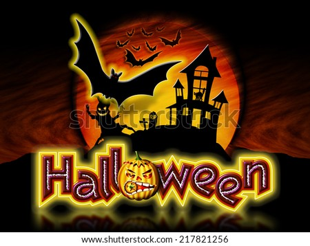 Halloween lettering with pumpkin, haunted house and tree with flying bats graphic.
