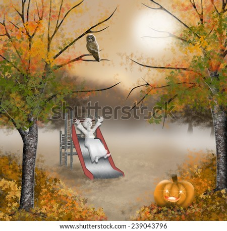 Halloween little ghost playing on the playground - stock photo